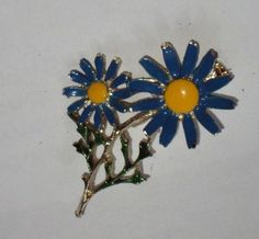 Daisy Flower  Pin / Blue Enamel Brooch / by outoftheattic2u, $16.00