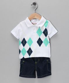 White Argyle Polo and Shorts by Baby Togs