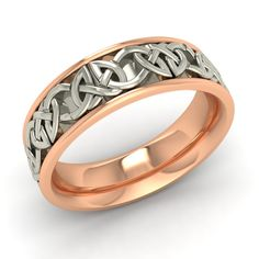 Men's Wedding Ring / Band with Celtic Design In Two Tone Solid 14k Rose Gold - Rings