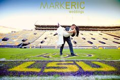 LSU photo session in Tiger Stadium. Notice the brides purple tennis shoes!