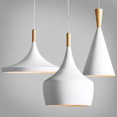 White modern pendant light has painting finish that decorates fixture modern look. Musical instrument shaped design adds simple temperament to this fixture. E26/E27 screw base is suitable for various lamps. Ceiling plate suffers the pressure from fixture totally.