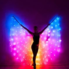 Smart LED Bellydance Rainbow wings for Cassidy - Vestidos Neon, Dance Numbers, Neon Party, Spa Party, Event Company, Burning Man, Samba, Cool Gadgets, Belly Dance