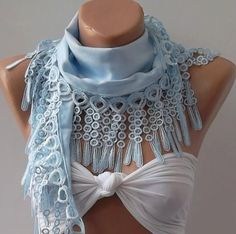 Light Blue Pashmina and Elegance Shawl / Scarf with Lace by womann, $13.50