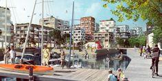 Kjellander + Sjöberg Architects -  Hästholmssundet, new channel view, green spaces and waterfront promenade with new urban development