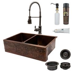All-in-One Undermount Copper 33 in. 0-Hole 50/50 Double Basin Kitchen Sink with Scroll Design in Oil Rubbed Bronze