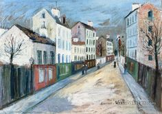 Maurice Utrillo A Street In A Suburb Of Paris oil painting reproductions for sale