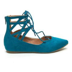 Point It Out Laced Faux Suede Flats TURQUOISE ($20) ❤ liked on Polyvore featuring shoes, flats, green, flat pointy shoes, pointy flats, flat shoes, turquoise shoes and lace up shoes