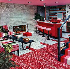 1956 ... pink basement. KICKASS.  Love the striped stairs and the patterned linoleum.