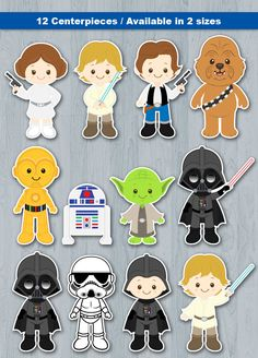 Star Wars Centerpiece Digital File INSTANT DOWNLOAD * This is Printable file (PDF) and no physical items will be mailed to you. ----------------------- ★★ Package Included ★★----------------------------------- You will received * 1 PDF file of 12 Characters neatly layout in 8.5 x 11