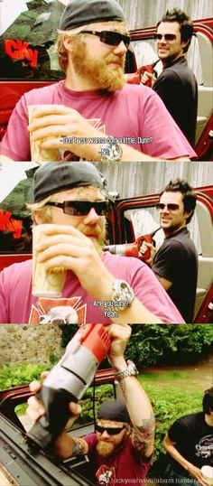 Ryan Dunn and Johnny Knoxville, wrecking Bam's hummer - this is an awesome episode.  (Viva La Bam)  RIP Ryan :(