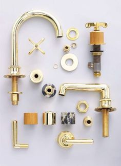 Waterworks' Henry series of lavatory faucets and shower and tub fittings comes in gold, unlacquered brass, and even copper. Available at Cabochon Surfaces & Fixtures.