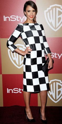 Jessica Alba - Look of the Day - InStyle--a dress that wouldn't work on everyone, but she looks great!