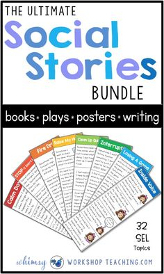 Social stories are a game-changer for teaching social skills and self-regulation in the primary classroom. Each of the 32 topics in this bundle has a full week of lessons and activities, plus a teacher script to guide your discussion! #SEL #socialemotionallearning #characterdevelopment #gradeone #kindergarten
