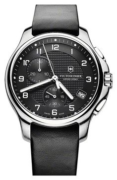 Victorinox Swiss Army® 'Officer's' Leather Strap Chronograph Watch available at #Nordstrom