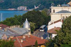 Cityscape of the old and antic city balchik on black sea coast in Bulgaria stock photo