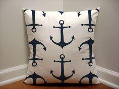 Navy Blue Nautical Pillow Blue Anchor Pillow Cover by BixbyBasil