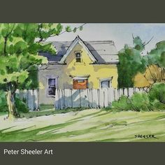 Rural sketch of a cute yellow farmhouse. A tiny one at Watercolor Journal, Watercolor Painting Techniques, Watercolor Landscape Paintings, Pen And Watercolor, Watercolour Tutorials, Landscape Art, Ink Painting, Peter Sheeler, Watercolor Architecture