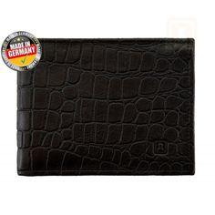 RFID Geldbörse / Geldbeutel Dundee Croco Black, RFID Geldbörse,