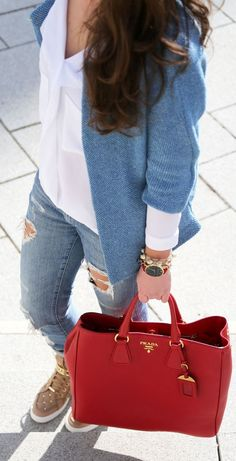 keep it casual with Essex sneakers by Michael Kors - Prada Bags - Ideasd of Prada Bags - Prada Red Tote Outfit Idea by Fashion Hippie Loves Basket Michael Kors, Cheap Michael Kors, Michael Kors Outlet, Handbags Michael Kors, Prada Handbags, Fashion Handbags, Fashion Bags, Stylish Handbags, Cheap Handbags