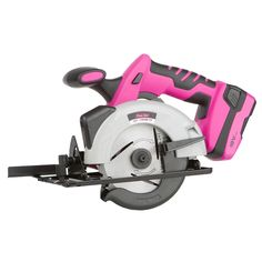 Pink Circular Saw. On Sale for $49.99, and qualifies for free shipping on tool orders over $100. Cuts at 45 and 90 degrees! This saw uses The Original Pink Box 18-volt lithium ion battery and battery charger (each sold separately). Comes with a warranty. http://theoriginalpinkbox.com/products/18-volt-circular-saw/