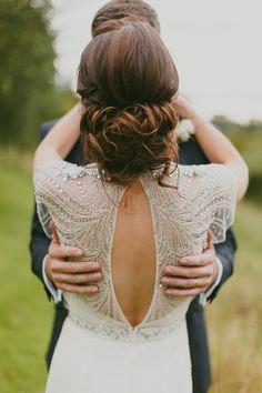 wedding dress back detail - photo by Paula O'Hara http://ruffledblog.com/art-nouveau-irish-mansion-wedding #jennypackham