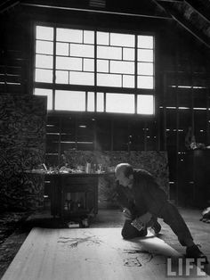 Jackson Pollock, from LIFE 1949. In his Springs, NY painting studio.