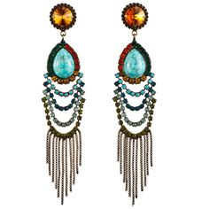 """Dannijo Valerija Earring -- A go-to pair of dangle earrings, inspired by Indonesian surf culture, these earrings are the perfect accent to any wardrobe.(Features an array of colorful Swarovski crystals; oxidized brass plated earrings with chain fringe; measures approximately 4.75"""" long; handmade in New York; 395.00) #dannijo"""