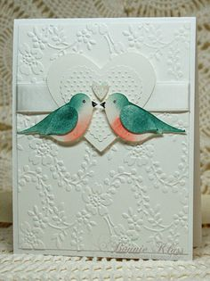Stamping with Klass: Sponged, Punched Birds over embossing folder card. Wedding Shower Cards, Wedding Cards, Bridal Shower, Wedding Anniversary Cards, Homemade Anniversary Cards, Happy Anniversary, Punch Art Cards, Birthday Cards, Birthday Images