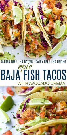 Fish Tacos With Cabbage, Fish Taco Sauce, Dandelion Recipes, Avocado Crema, Comida Latina, Health Dinner, Mexican Food Recipes, Recipes Dinner, Fish Taco Recipes
