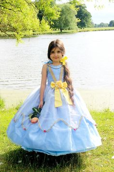 Girls Blue Princess Dress  Bow Dress with by FriolinaFancyDesigns,