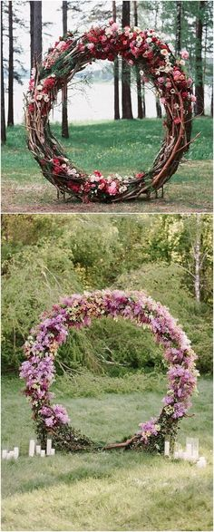 floral giant wreath wedding arch ideas #weddings #weddingideas #weddingdecor
