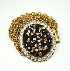Vintage La Porte Bleue Paris Rhinestone Multi Chain Gold Chunky Bracelet.