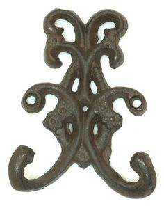 Cast Iron-Set Of 6 Rust Double Floral Hooks