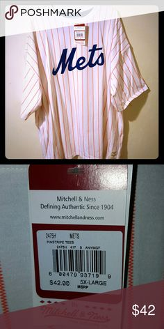 MENS METS Pin Striped Shirt NEW Mitchell and Ness Brand New! Size 5X but fits like a 3XL Mitchell & Ness Shirts