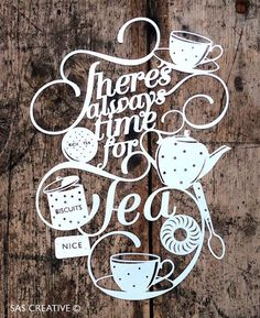 Papercut Template PDF 'There's Always Time for Tea' Printable Cut Your Own Papercut by Samantha's Papercuts