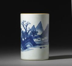 A blue and white 'landscape' cylindrical brushpot, bitong, Circa 1640