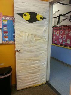 Mummy door! Easy for #Halloween decor in the #classroom! #Bulletinboards