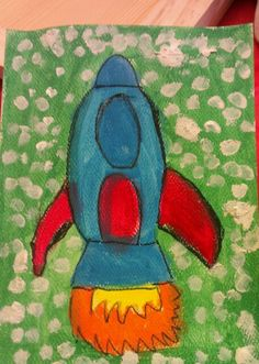 Rocket ship painted by my 5yo son. Crayola washable paints are so easy to use and so bright.