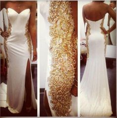 custom made 2014 Gold Crytal Beaded Side Split Evening Dresses