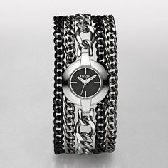 Black and Silver Fossil Chain Watch