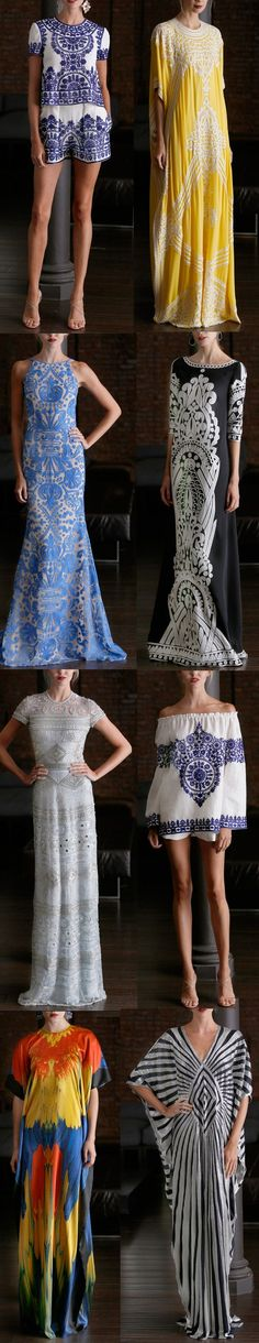 Naeem Khan Resort 2015. Some of the motifs run through previous collections as well in variations.
