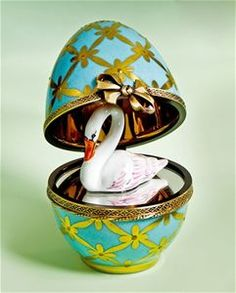 Limoges Faberge Style Turquoise Egg with Swan Box The Cottage Shop
