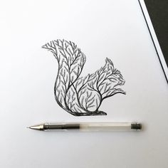 Italian artist Alfred Basha combines animals and natural elements such as trees, branches and leaves to create his beautiful drawings. More illustrations via Ideia Quente Pen Illustration, Ink Illustrations, Squirrel Illustration, Ink Drawings, Animal Drawings, Drawing Animals, Tattoo Sketches, Alfred Basha, Squirrel Tattoo