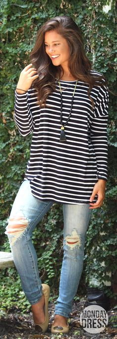 A Breath Away Tunic in Stripes | Monday Dress Boutique