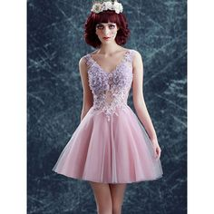 Pink V-neck 3D Flower Beaded Lace Up Back Mini Homecoming Dress (95 AUD) ❤ liked on Polyvore featuring dresses, mini cocktail dress, v neck cocktail dress, pink mini dress, purple homecoming dresses and lace up dress