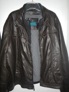 PERRY ELLIS MENS XL FAUX LEATHER BROWN BIB JACKET w/ QUILTED LINING VGUC…