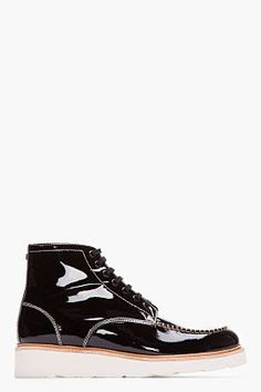 0aa23d313f The Best Men's Shoes And Footwear : DSQUARED2 // BLACK PATENT LEATHER  VERNICE BOOTS 32148M047002 High top patent lea.