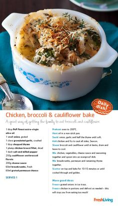 A FEEL-GOOD BAKE to keep warm in winter's wake... Try this chicken, cheese and broccoli dish. #dailydish #picknpay #freshliving
