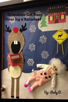 Christmas decor! Classroom door decorated for Christmas