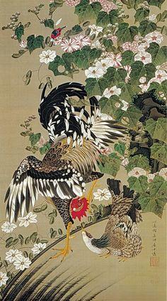 伊藤若冲 Ito Jakuchu/動植綵絵 Doshoku Sai-e(Colorful Realm of Living Beings)10-芙蓉双鶏図 Fuyo Sokei-zu(Hibiscus and Pair of Chickens)
